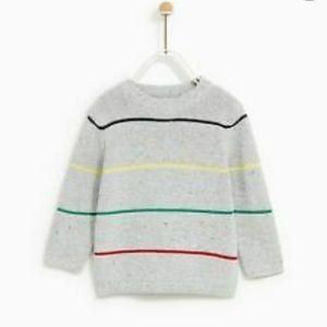 Zara Knitwear Baby Boy Gray Striped Sweater